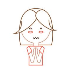 Cartoon worried woman icon vector