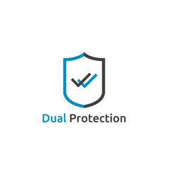 check shield icon symbol dual secure protection vector image