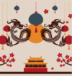 chinese dragon art poster vector image