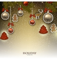 Christmas background with Christmas toys balls and vector