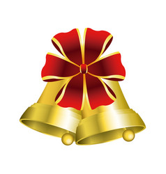 Christmas bells with decorations golden ribbon vector