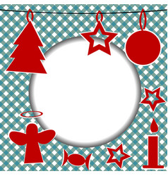 christmas template with round frame vector image