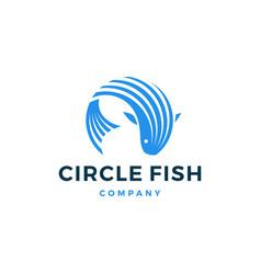Circle fish logo icon vector