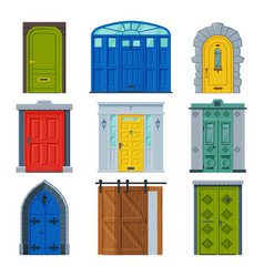 Classic doors collection vintage and modern style vector