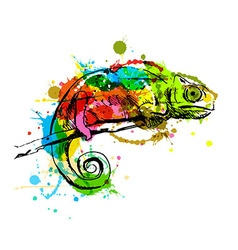Colored hand sketch chameleon vector