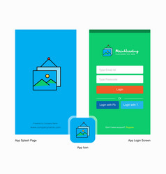 company image frame splash screen and login page vector image