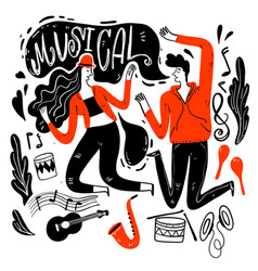 couples are dancing in music festival vector image