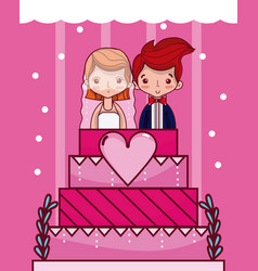 Cute and delicious wedding cake vector