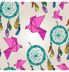 Cute background with origami and dream catchers vector image