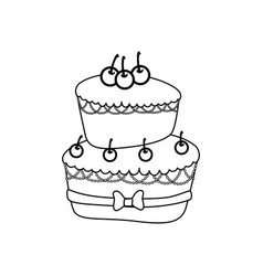 Delicious birthday cake vector
