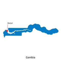 Detailed map of Gambia and capital city Banjul vector