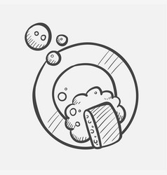 dish washing hand drawn sketch icon vector image