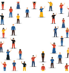 Diverse people group in circle background shape vector