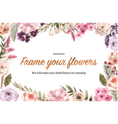 Dried floral frame design with rose peony anemone vector