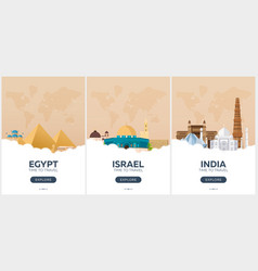 Egypt israel india time to travel set of vector