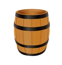 Empty wooden barrel vector image