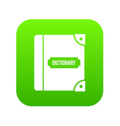 English dictionary icon digital green vector
