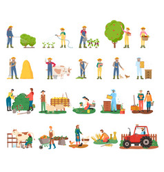 Farmers busy with farming and agricultural works vector