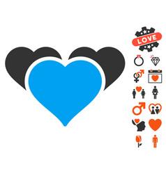 Favourite hearts icon with love bonus vector