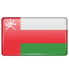Flags Oman in the form of a magnet on refrigerator vector image
