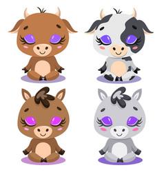 Flat cute cartoon cow bull horse meditation vector