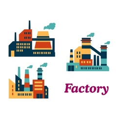 Flat factories icons vector image
