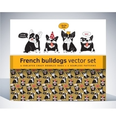 French bulldog set pack characters pattern and vector