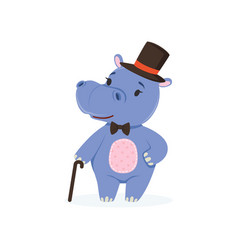 Funny baby hippo character wearing top hat and bow vector