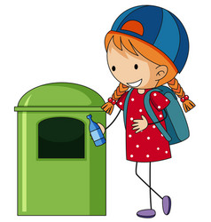 Girl throwing bottle in trashcan vector