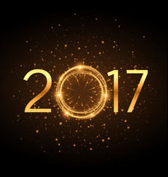 golden 2017 new year text with glowing glitter vector image