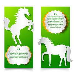 green vertical banners with jumping horse vector image
