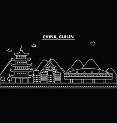 guilin silhouette skyline china - guilin vector image
