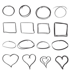 Hand drawn circles squares and hearts icon set vector