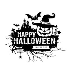 Happy halloween black and white message vector