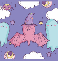 happy halloween celebration cute bat with hat vector image