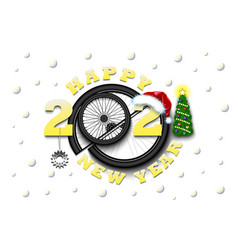 happy new year 2021 and bicycle wheel vector image
