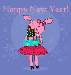 Happy new year card cartoon pig with gifts vector