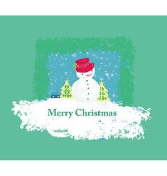 Happy snowman card vector image