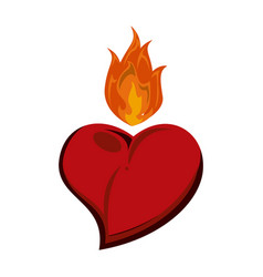 Heart with flamme tattoo vector