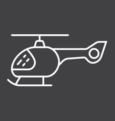 Helicopter line icon transport and air vehicle vector