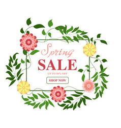 hello spring floral wreath on white background vector image