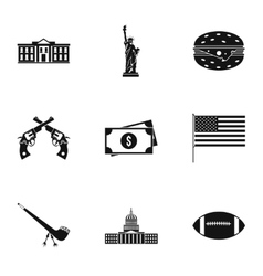 Holiday in USA icons set simple style vector