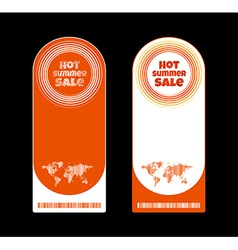 Horizontal orange label with the word hot summer vector