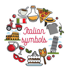 Italian symbols poster with national architecture vector