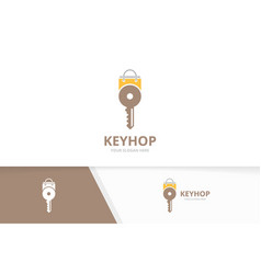 key and shop logo combination lock and vector image