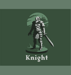 knight armor sword vector image