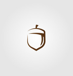Line art oak nut logo design minimalist label vector