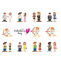 little people funny lovers on valentines day vector image