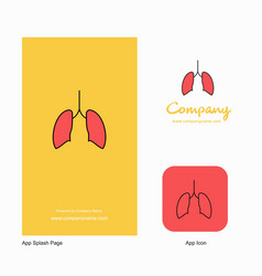 Lungs company logo app icon and splash page vector