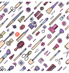 makeup seamless pattern of vector image